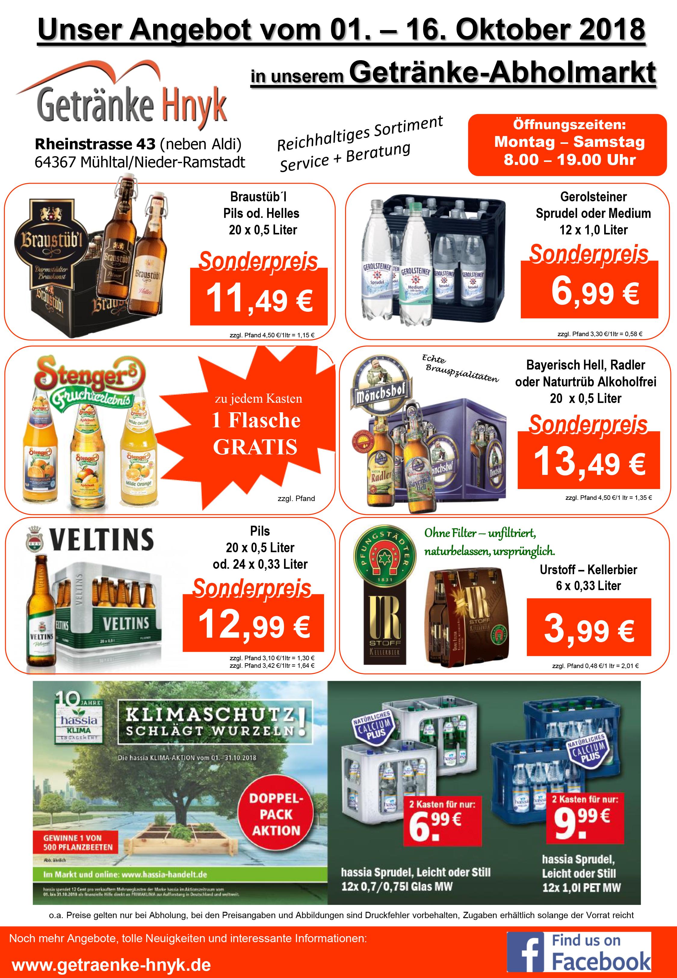 Neuigkeiten und Angebote von Getränke Hnyk in Mühltal/Nd.Ramstadt